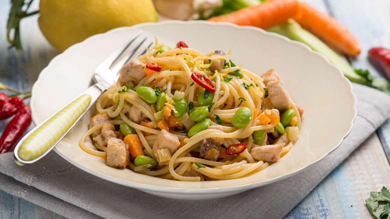Spaghetti spada e fave