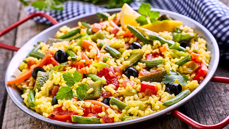 Paella con verdure