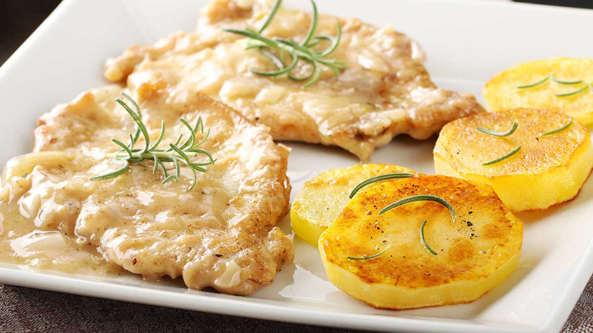 Scaloppine con patate al forno