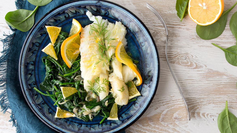 Merluzzo con spinaci al profumo di arancia